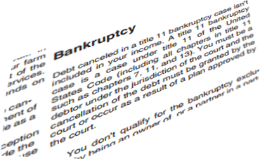 taxes on debt discharged in bankruptcy